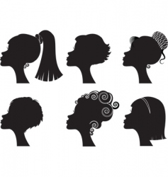 silhouette woman hairstyle vector image vector image