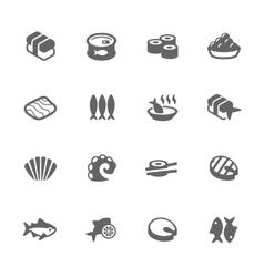 Simple sea food icons vector