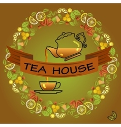 Tea house card round frame with cup leaf lemon vector