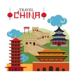 Travel china landmark vector