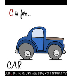 Vocabulary worksheet card with cartoon car vector