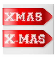 xmas red label ribbons vector image