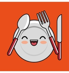 Kawaii plate fork spoon knife icon design vector