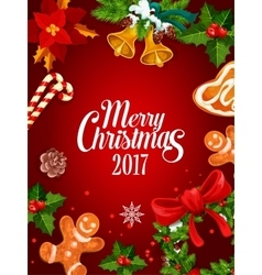Christmas holly wreath winter holidays poster vector