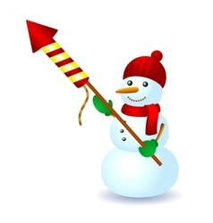 Snowman firework hat scarf winter fun vector