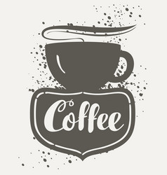 sign cafe with cup vector image