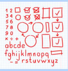 Marker hand written doodle symbols letters vector