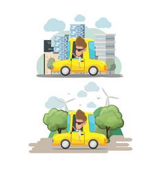 Man driver yellow car city eco vector