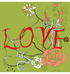 Inscription love with floral element vector