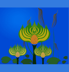 abstract swamp with lotus vector image