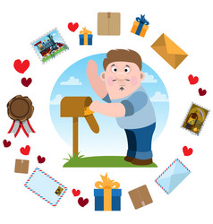 Man brought the letter into the mailbox envelopes vector