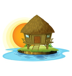 A nipa hut in an island vector