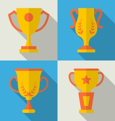 Trophy flat icons set of success award vector