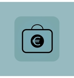 Pale blue euro bag icon vector