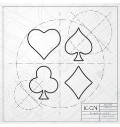 Game cards icon epsclassic blueprint of0 vector