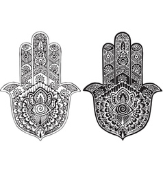 Hamsa painted in the style of mehndi vector