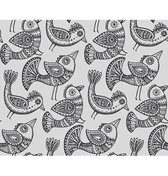 Seamless pattern with hand drawn fancy birds in vector