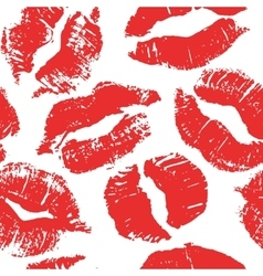 Seamless pattern with lipstick kisses vector