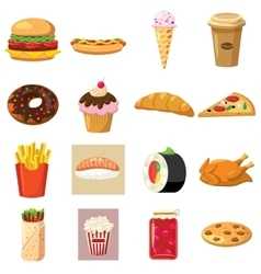 Food set icons vector