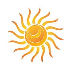 Yellow Shiny Sun Icon vector image