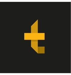 Yellow letter t in the form of abstraction vector