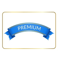 Blue ribbon banner premium white vector