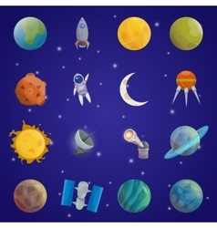 Space universe icon set vector