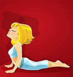 Blond girl in yoga pose bhudzhangasana on red vector