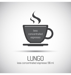 Cup of espresso lungo simple icon vector