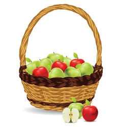 Basket of Red and Green Apples3 vector image