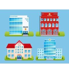 Buildings emblems set vector