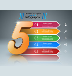 Business five infographics origami style vector