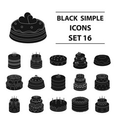cakes set icons in black style big collection of vector image