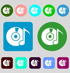 Cd or dvd icon sign 12 colored buttons flat design vector