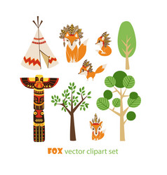 Clipart set with foxes in american indian vector
