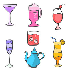 collection stock drink set various vector image