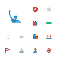 Flat icons stamp sport america and other vector