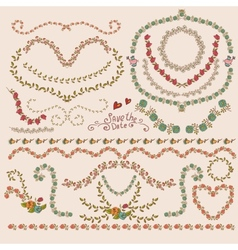 Floral Laurels Ribbons Wreaths vector image vector image