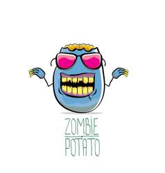 Funny cartoon cute blue zombie potato vector
