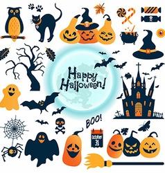 Halloween icons set design elements vector