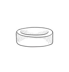 Hockey puck sketch icon vector image vector image