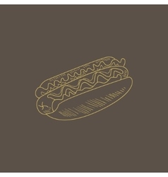 Hot dog hand drawn sketch vector