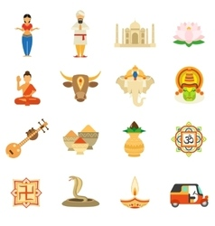India icons flat set vector