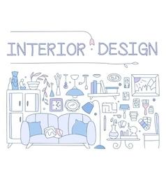 Interior design improved interior apartment vector