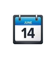 June 14 calendar icon flat vector