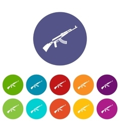 Kalashnikov machine set icons vector image
