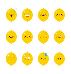 lemon modern flat emoticon set vector image vector image