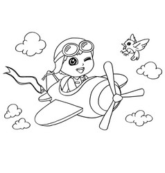 Little boy flying in a toy plane coloring page vector