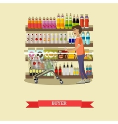 Male customer buying food in grocery store vector