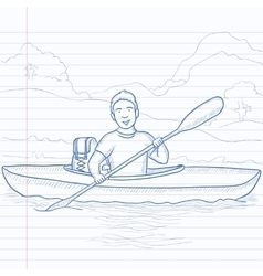 Man canoeing on the river vector image vector image